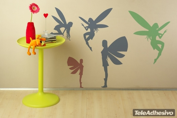 Kinderzimmer Wandtattoo: Fairies silhouettes