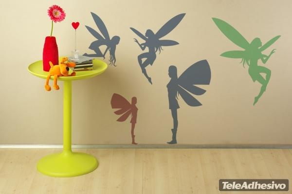 Kinderzimmer Wandtattoo: Fairies silhouettes
