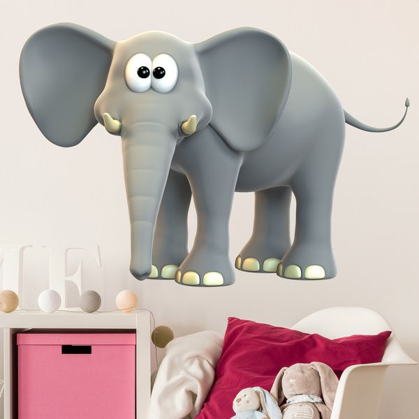 kinderzimmer wandtattoo von einem grauen freundliche elefant. Black Bedroom Furniture Sets. Home Design Ideas