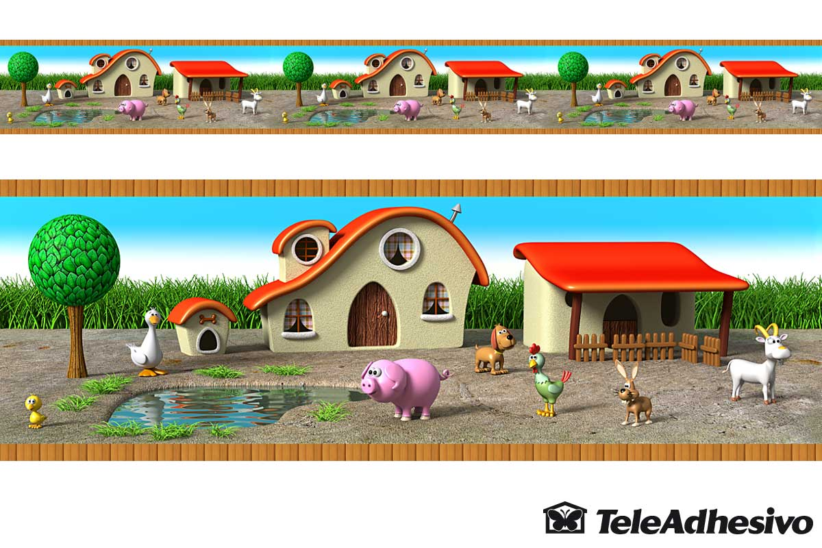 Kinderzimmer Wandtattoo: Grenze Farm Animals 2