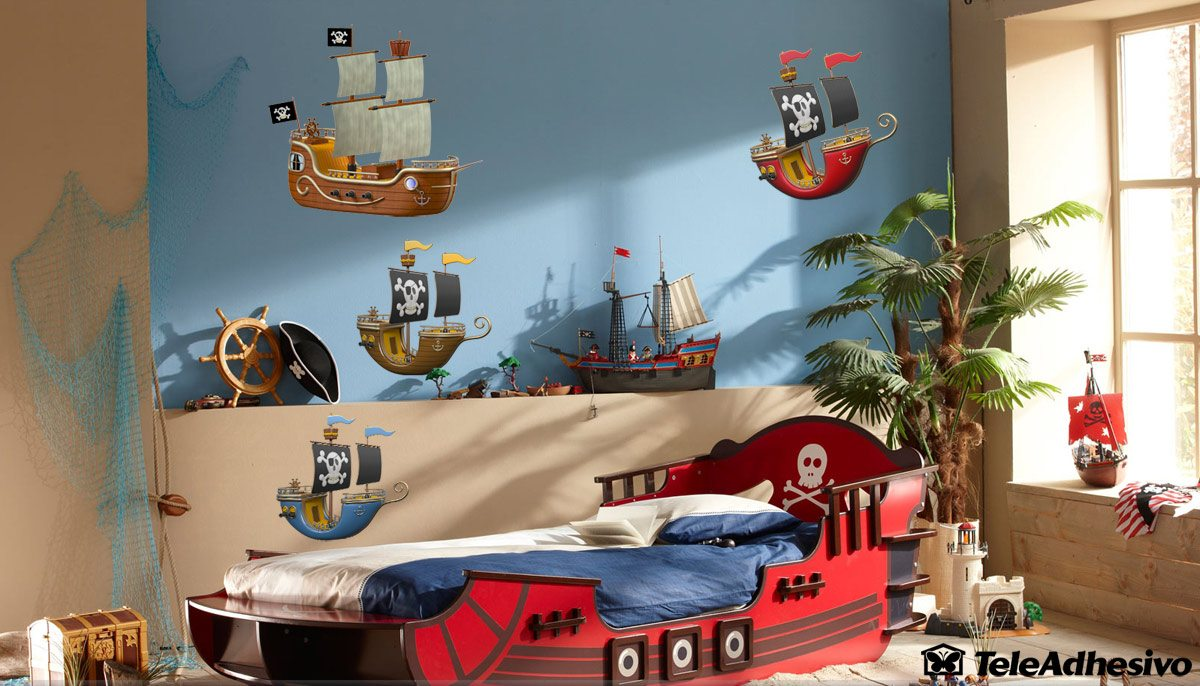 kinderzimmer wandtattoo gelb piraten schiff. Black Bedroom Furniture Sets. Home Design Ideas