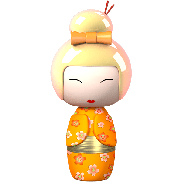 Kinderzimmer Wandtattoo: Orange Kokeshi Puppe 0