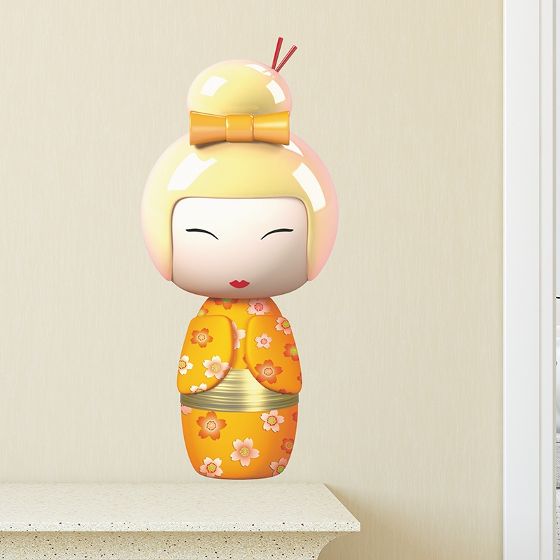 Kinderzimmer Wandtattoo: Orange Kokeshi Puppe