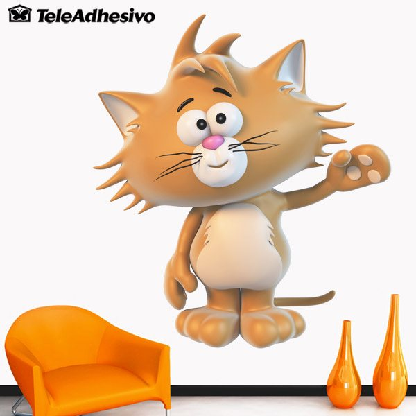 Kinderzimmer Wandtattoo: Orange Katze