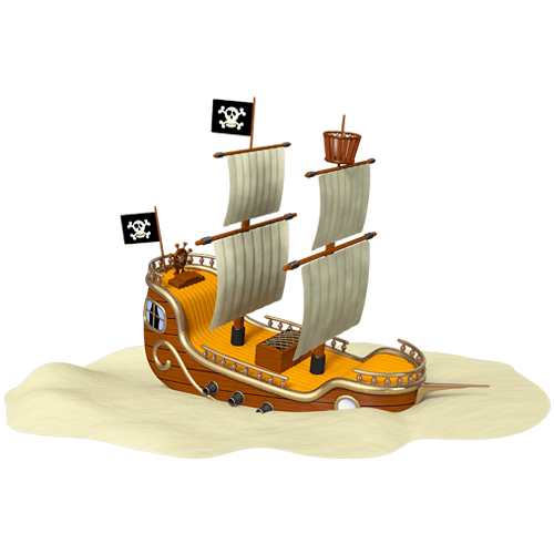 Kinderzimmer Wandtattoo: Pirate Ship Aground