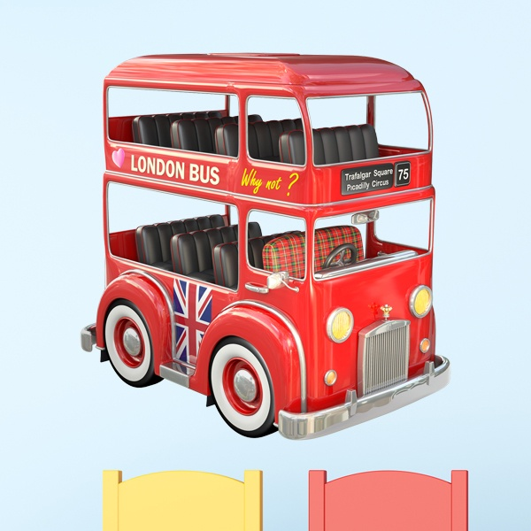 Kinderzimmer Wandtattoo: London Bus