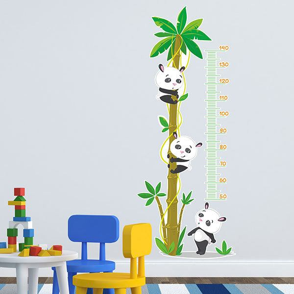 Messlatte für Kinder Aufkleber Pandas in der Palme
