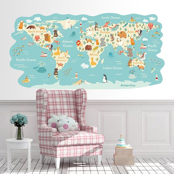 Wandtattoo Weltkarte Kinder Auf Der Ganzen Welt Webwandtattoo Com