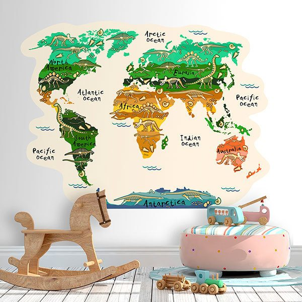 Wandtattoo kinder Weltkarte Kontinente und Dinosaurier ...