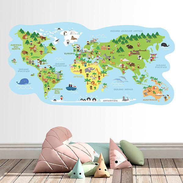 Wandtattoo kinder Weltkarte typische Kostüme | WebWandtattoo.com