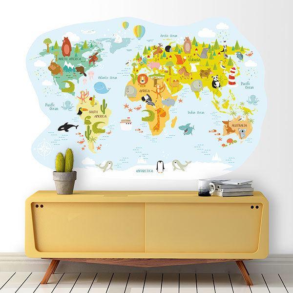 Wandtattoo Weltkarte Kinder Beruhmten Tiere Webwandtattoo Com