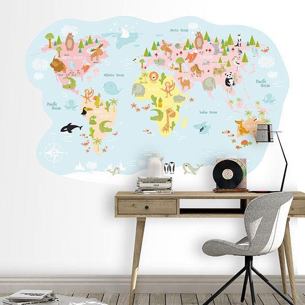 Wandtattoo Berge Kinder-Weltkarte