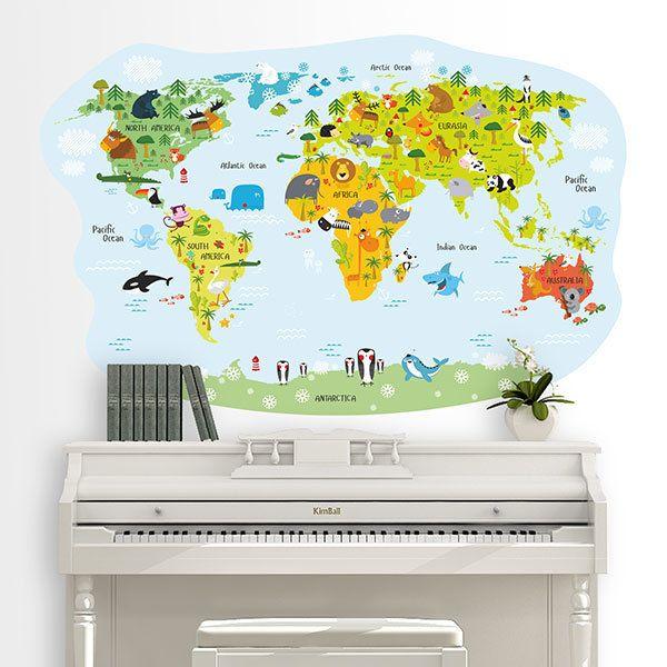 Wandtattoo Weltkarte Kinder Frohliche Tiere Webwandtattoo Com