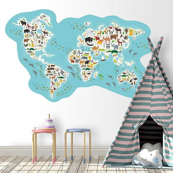 Wandtattoo kinder Weltkarte der Haupttiere | WebWandtattoo.com
