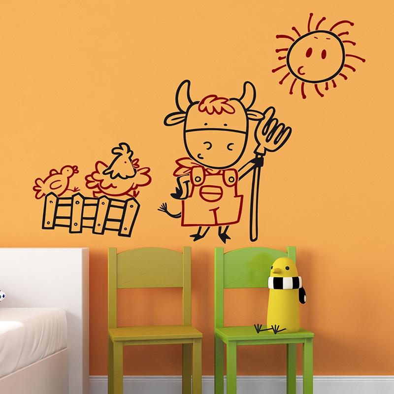 Kinderzimmer Wandtattoo: Vielfarbig Bauer