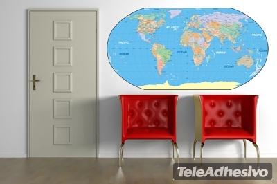 Wandtattoos: Karte der Welt