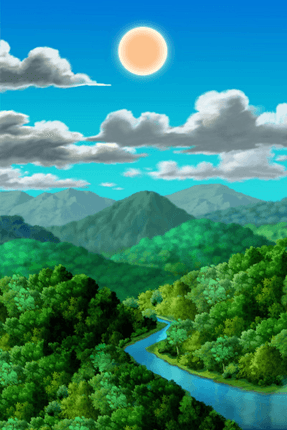 Wandtattoos: Wald mit Berge und Fluss