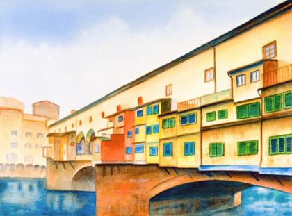 Wandtattoos: Malerei - Stadt und Fluss