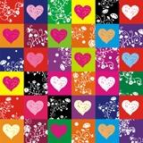Wandtattoos: Bunte Herzen 1