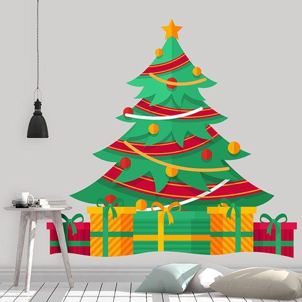 Wandtattoo kinder Baum mit Weihnachtsgeschenken ...