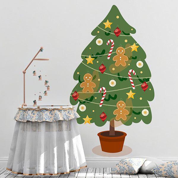 Wandtattoo kinder dekorierter weihnachtsbaum - Dekorierter weihnachtsbaum ...