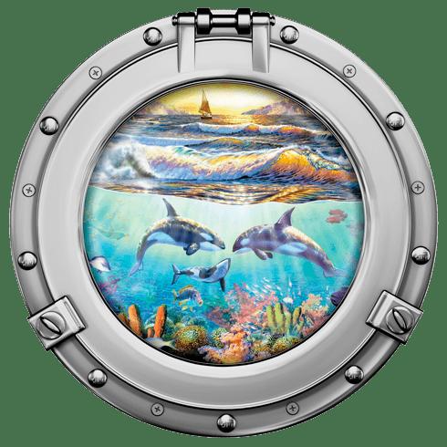 Wandtattoos: Delfine und Segelboot