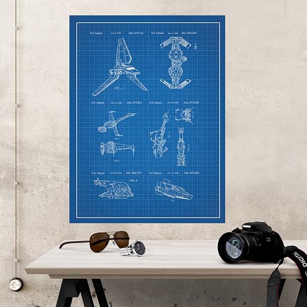 poster selbstklebendes star wars schiffe blau patent. Black Bedroom Furniture Sets. Home Design Ideas