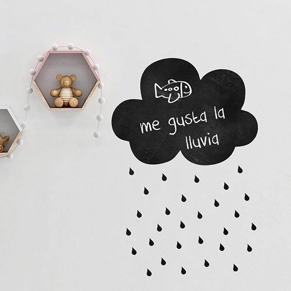 Wandtattoo Tafel Wolke Mit Regen Webwandtattoocom