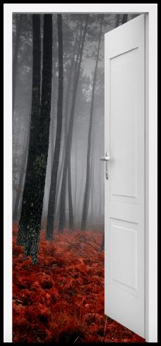 Wandtattoos: Offene Tür Wald im Herbst