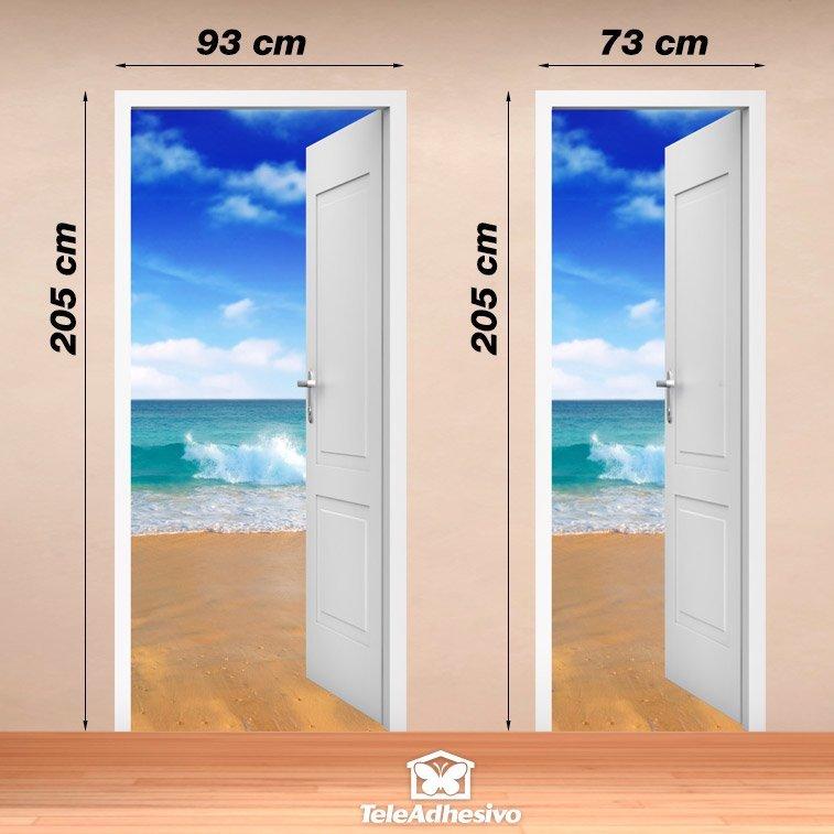 Wandtattoos: Offene Tür Strand und Himmel