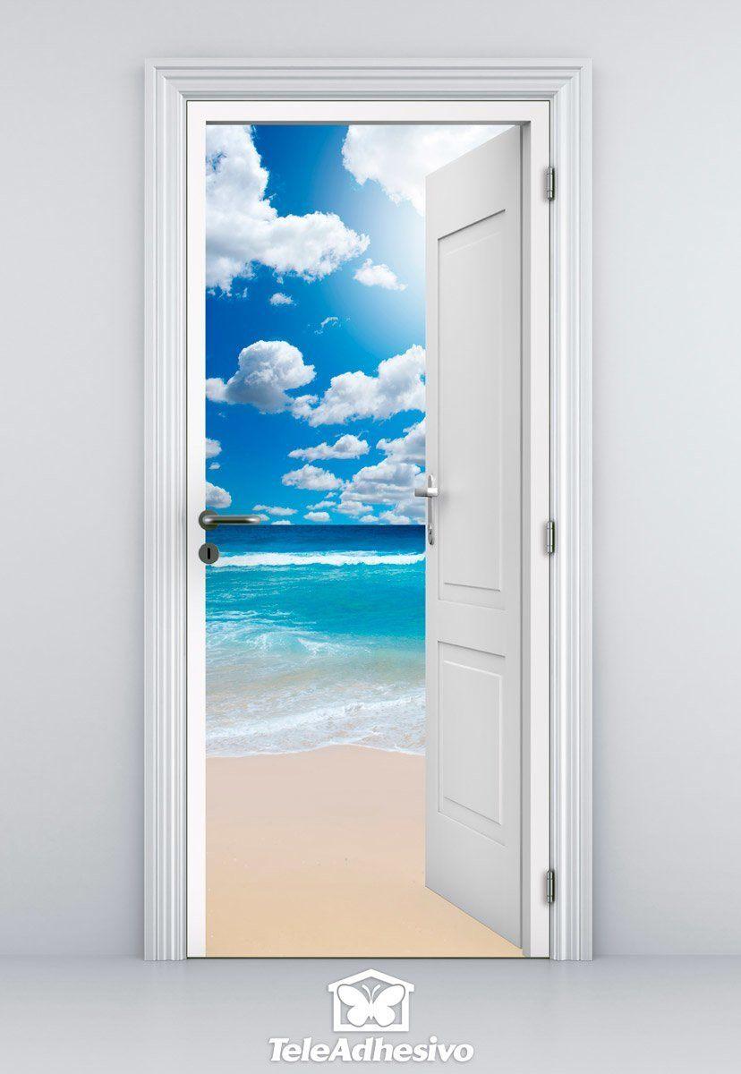 Wandtattoos: Offene Tür Strand und Himmel mit Wolken