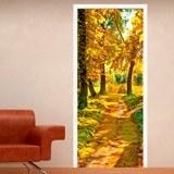 Wandtattoos: Tür pfad in einem Wald im Herbst 3