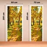 Wandtattoos: Tür pfad in einem Wald im Herbst 4