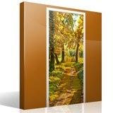 Wandtattoos: Tür pfad in einem Wald im Herbst 7