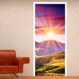 Wandtattoos: Tür Berge und Sonnenuntergang 3