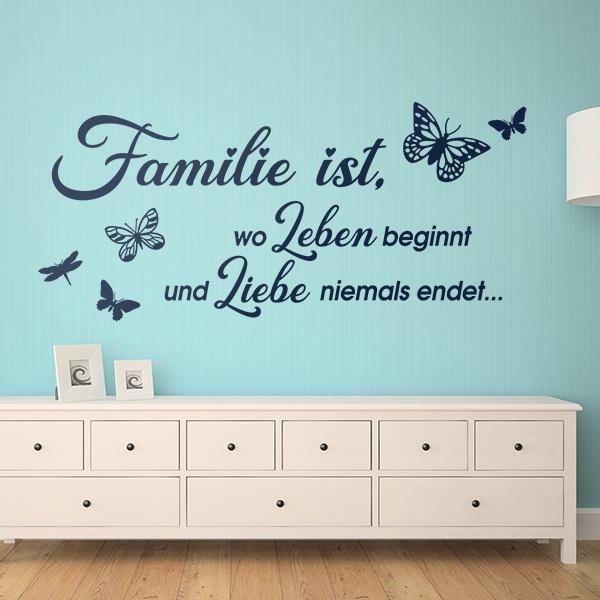 Zitate Wandtattoo Familie Ist Wo Leben Beginnt