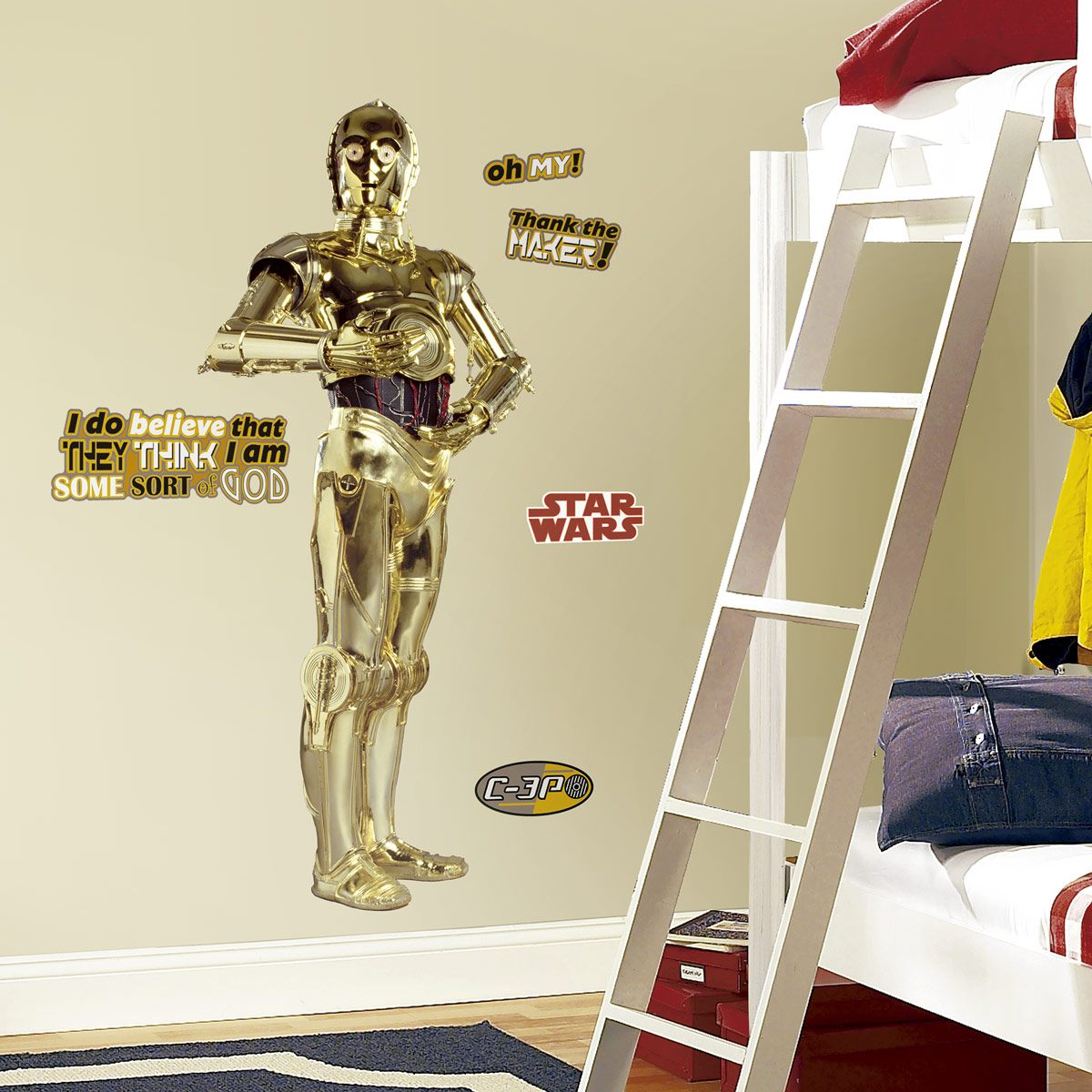 riesen c3po wandtattoo. Black Bedroom Furniture Sets. Home Design Ideas