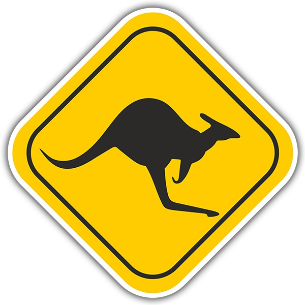 Wandtattoos: Warning Kangaroos