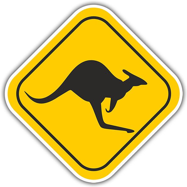 Wandtattoos: Warning Kangaroos 1