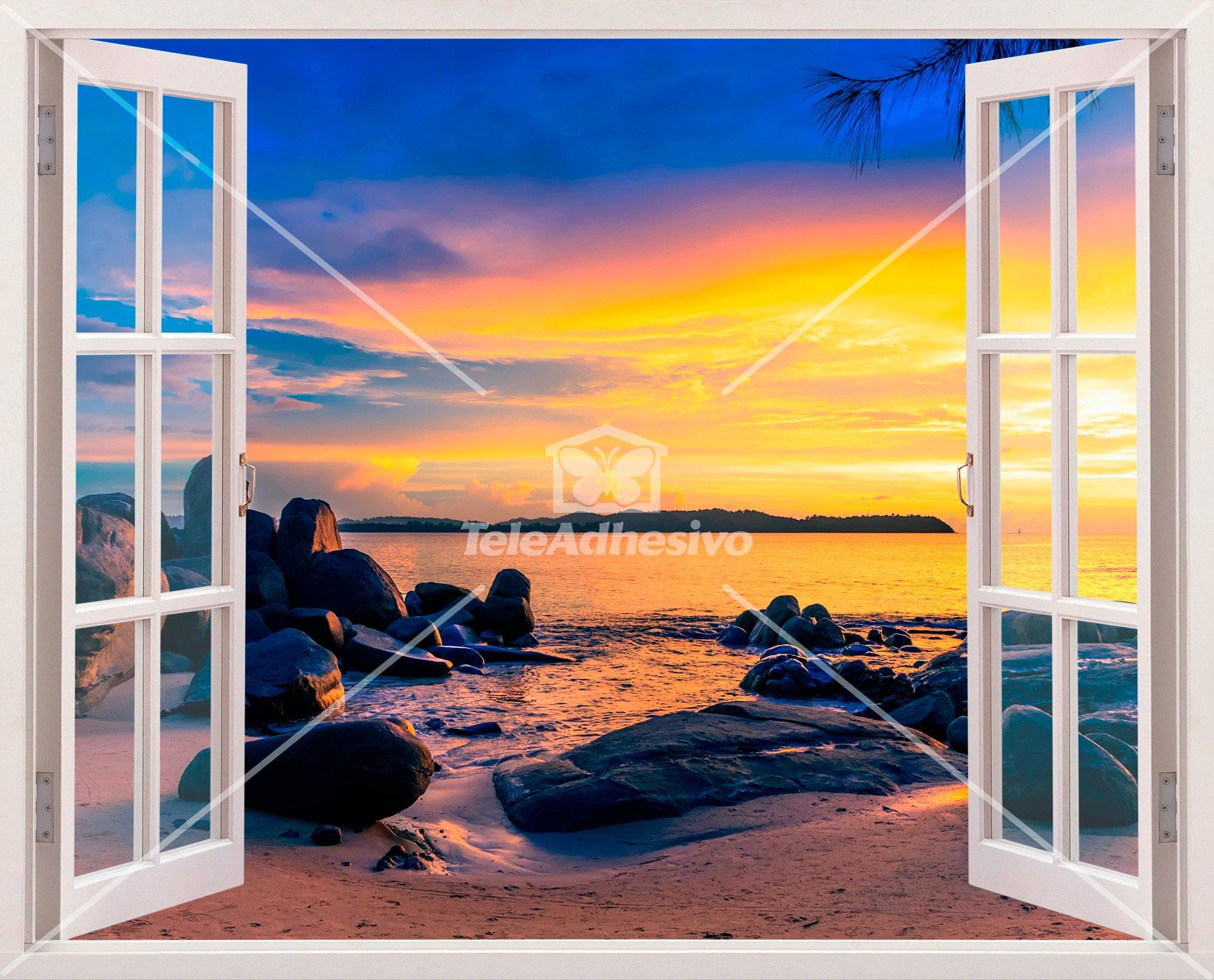 Wandtattoos: Sonnenuntergang am Strand 2