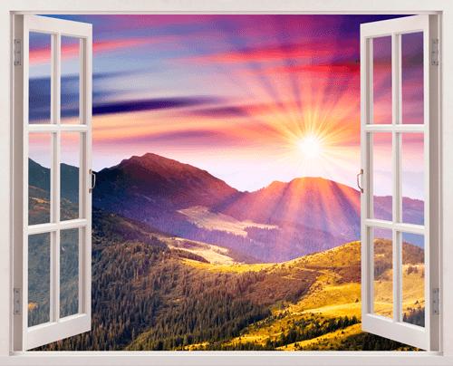 Wandtattoos: Sonnenuntergang in den Bergen