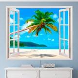 Wandtattoos: Palme auf karibischen Strand 3