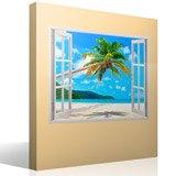 Wandtattoos: Palme auf karibischen Strand 4
