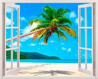 Wandtattoos: Palme auf karibischen Strand 5