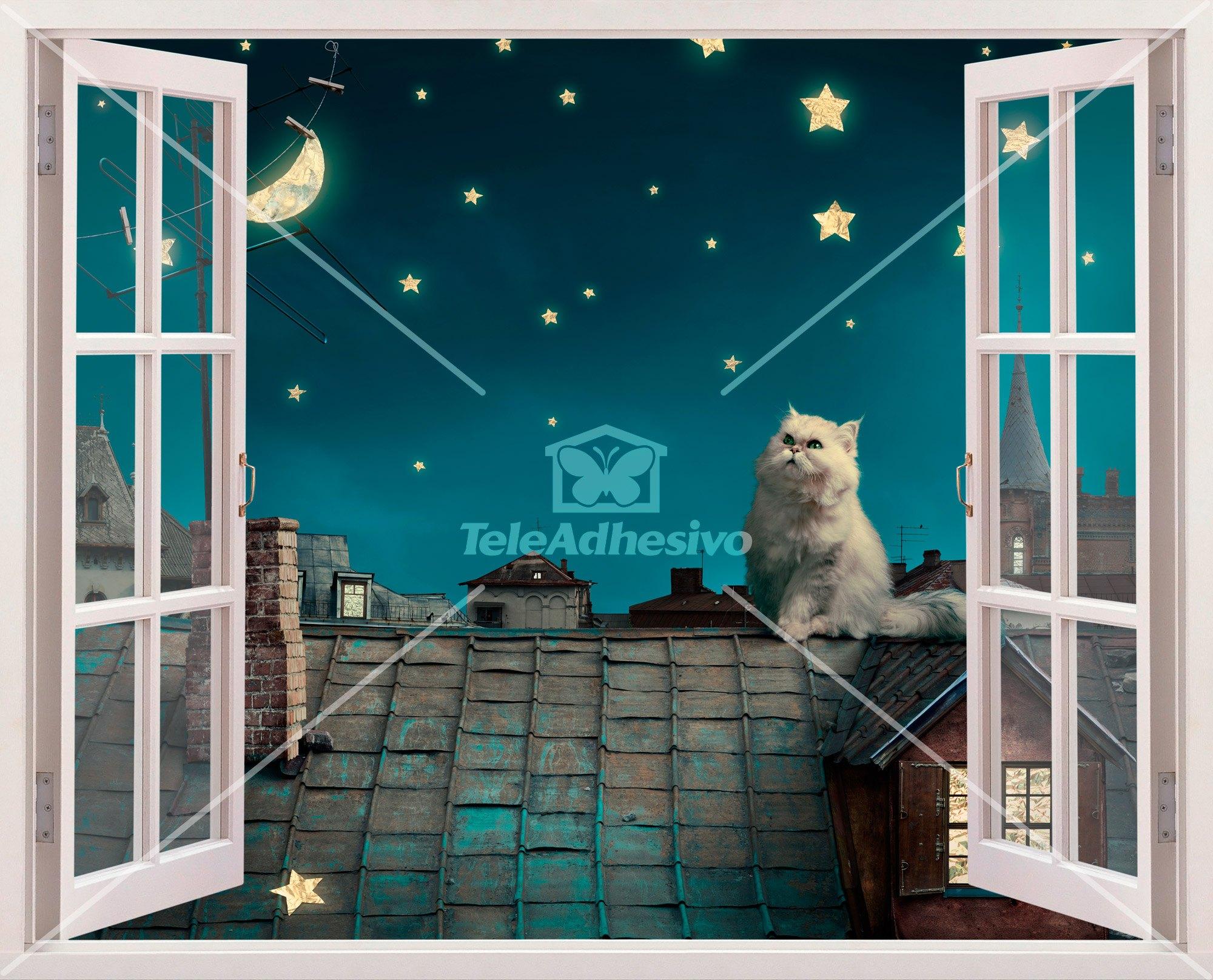 Wandtattoos: Eine Katze auf dem Dach