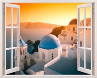 Wandtattoos: Sonnenuntergang in Santorini 3