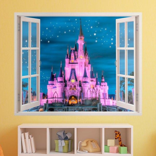 Wandtattoo kinder Fenster Schloss von Disney | WebWandtattoo.com