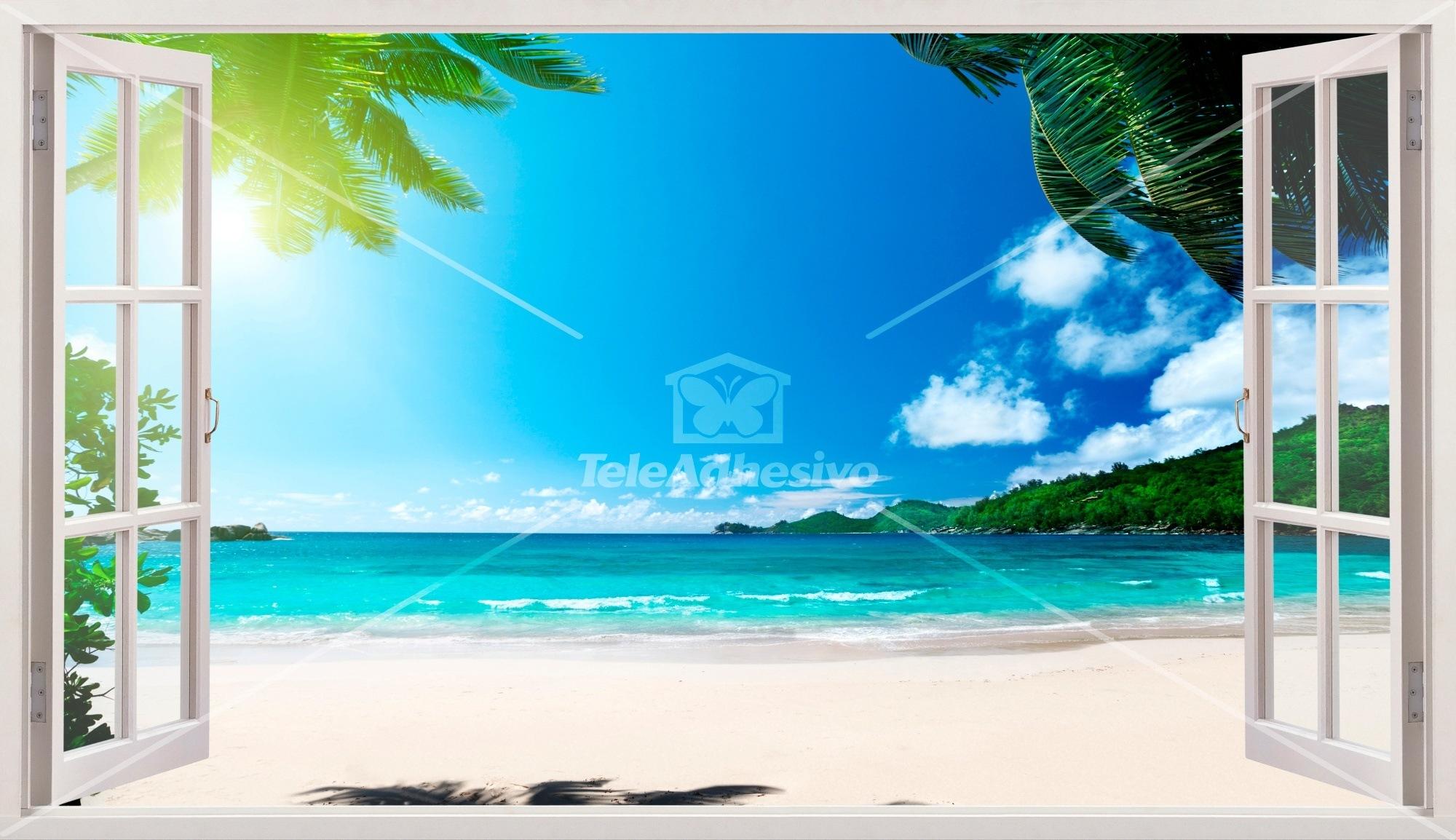 Wandtattoos: Panorama Palmen am Strand 5