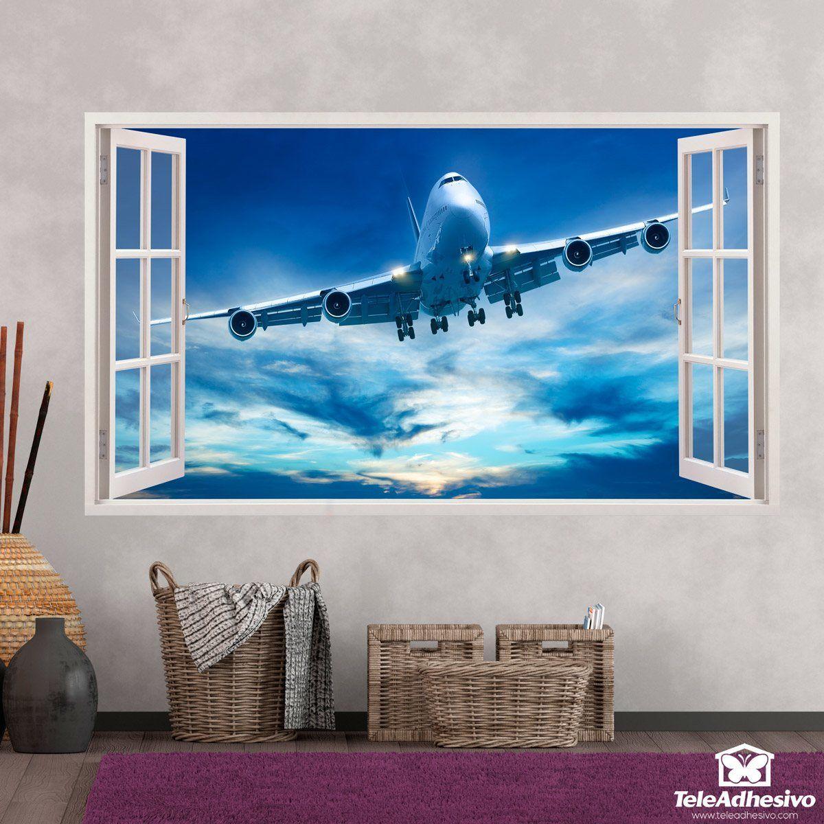 Wandtattoos: Panorama Düsenflugzeug 1