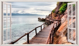Wandtattoos: Panorama Brücke auf dem Meer 5